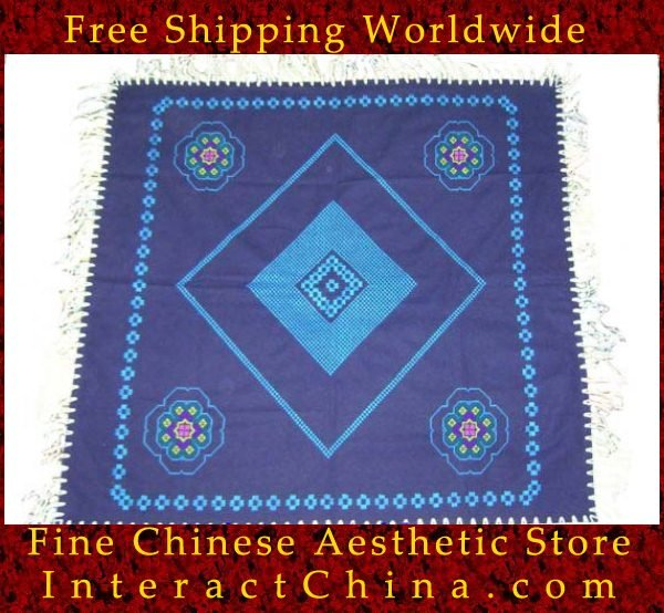 """Hand Cross Stitch Quilt Tapestry Throw 36x36"""" Embroidery Textile Sewing Art #121"""