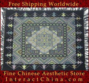 """Hand Cross Stitch Quilt Tapestry Throw 46x48"""" Embroidery Textile Sewing Art #119"""