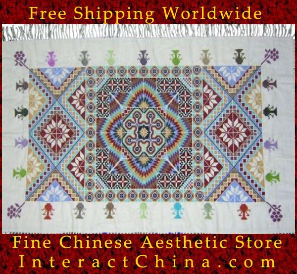 """Hand Cross Stitch Quilt Tapestry Throw 40x64"""" Embroidery Textile Sewing Art #118"""