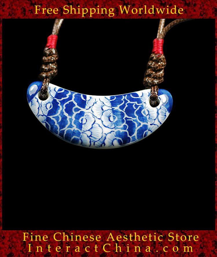 Deluxe Porcelain Pendant Necklace Jewelry 100% Handcrafted Jingdezhen Art 110 - FREE SHIPPING