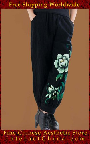 100% Handmade Pure Cotton Women Pants Trousers - Oriental Chinese Hand Paint Art #102