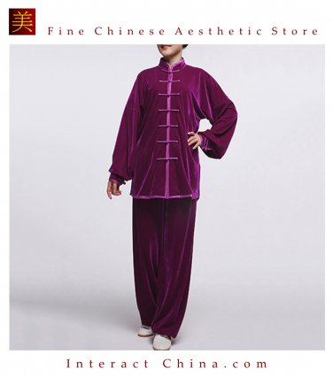 Flowing Unisex Velvet Suit for Tai Chi and Leisure Time in Chinese Style #110