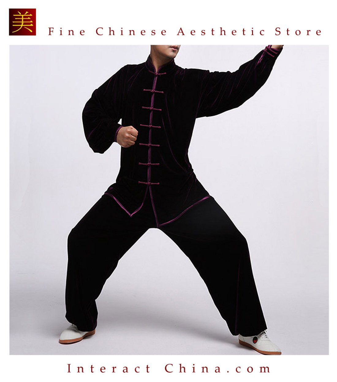 Flowing Unisex Velvet Suit for Tai Chi and Leisure Time in Chinese Style #111