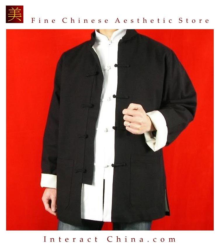 100% Cotton Black Kung Fu Martial Arts Tai Chi Jacket Coat XS-XL or Tailor Custom Made