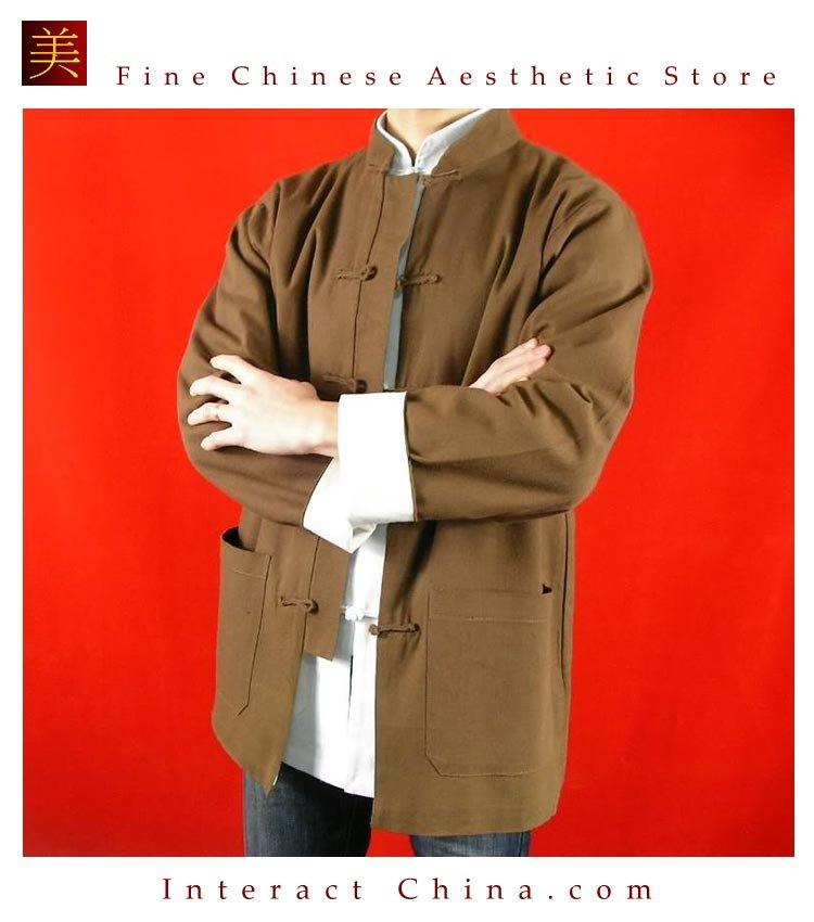 100% Cotton Brown Kung Fu Martial Arts Tai Chi Jacket Coat XS-XL or Tailor Custom Made