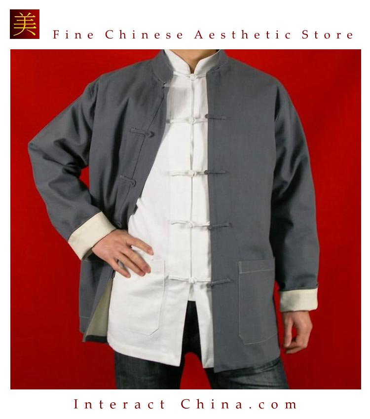 Premium Linen Grey  Kung Fu Martial Arts Tai Chi Jacket Coat XS-XL or Tailor Custom Made