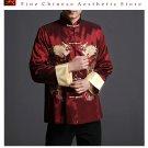 Stylish Red Kung Fu Men's Blazer Padded Jacket Dragon Shirt - 100% Silk #105