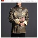 Stylish Green Kung Fu Men's Blazer Padded Jacket Dragon Shirt - 100% Silk #106