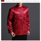 Classic Chinese Tai Chi Kungfu Red Jacket Blazer - Lightweight Silk Blend #201