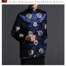 Classic Chinese Tai Chi Kungfu Blue Jacket Blazer - Lightweight Silk Blend #205