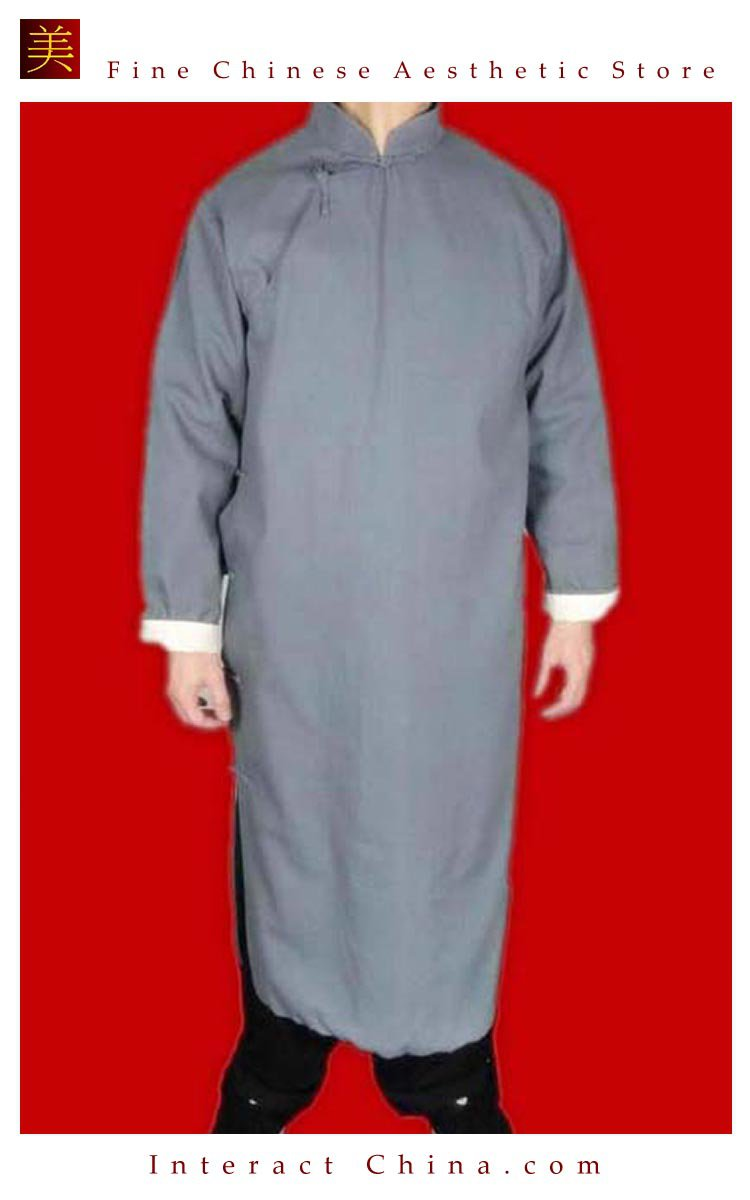 Fine Linen Grey Kung Fu Martial Arts Tai Chi Long Coat Robe XS-XL or Tailor Custom Made