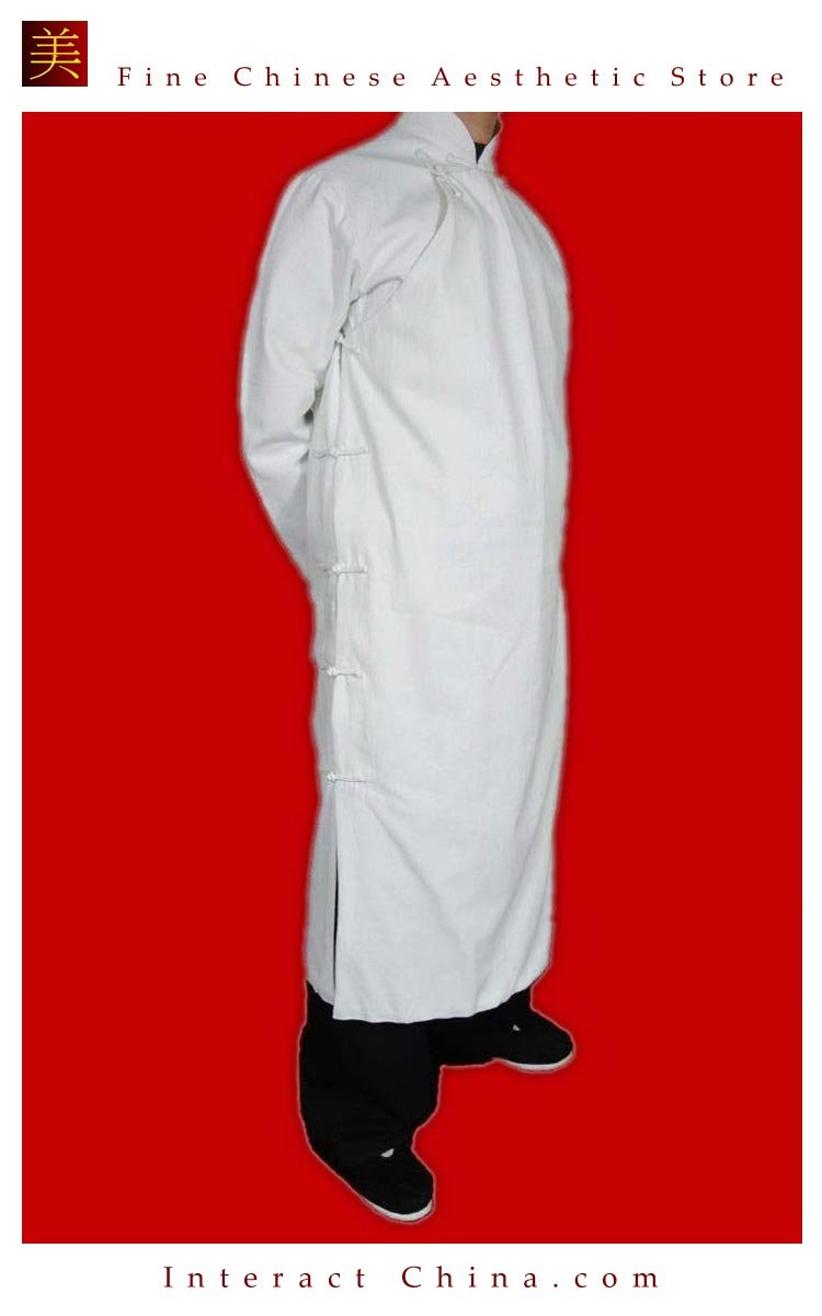 Fine Linen White Kung Fu Martial Arts Tai Chi Long Coat Robe XS-XL or Tailor Custom Made