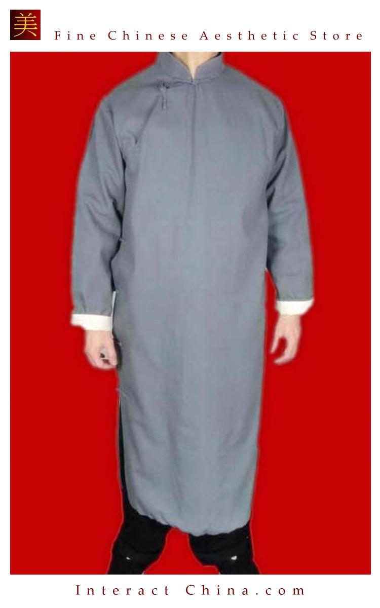 100% Cotton Grey Kung Fu Martial Arts Tai Chi Long Coat Robe XS-XL or Tailor Custom Made