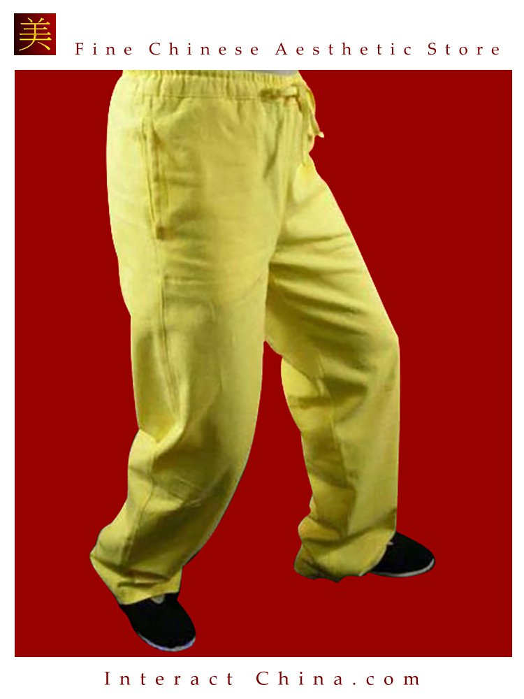 Premium Linen Golden Kung Fu Martial Art Taichi Pant Trousers XS-XL or Tailor Custom Made