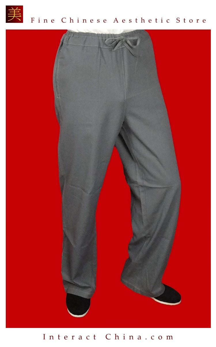100% Cotton Grey Kung Fu Martial Arts Tai Chi Pant Trousers XS-XL or Tailor Custom Made