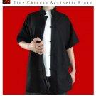 Premium Linen Black Kung Fu Martial Arts Tai Chi Shirt Clothing XS-XL or Tailor Made