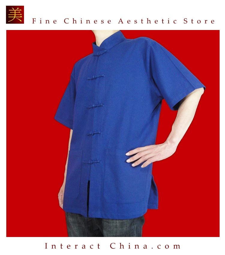 Premium Linen Blue Kung Fu Martial Arts Tai Chi Shirt Clothing XS-XL or Tailor Made