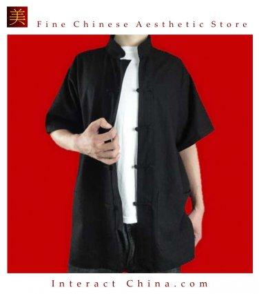 Fine Linen Black Kung Fu Martial Arts Tai Chi Shirt Clothing XS-XL or Tailor Custom Made