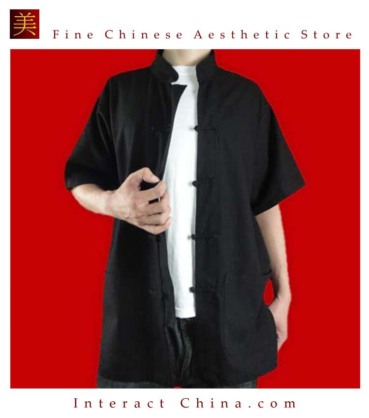 100% Cotton Black Kung Fu Martial Arts Tai Chi Shirt Clothing XS-XL or Tailor Custom Made