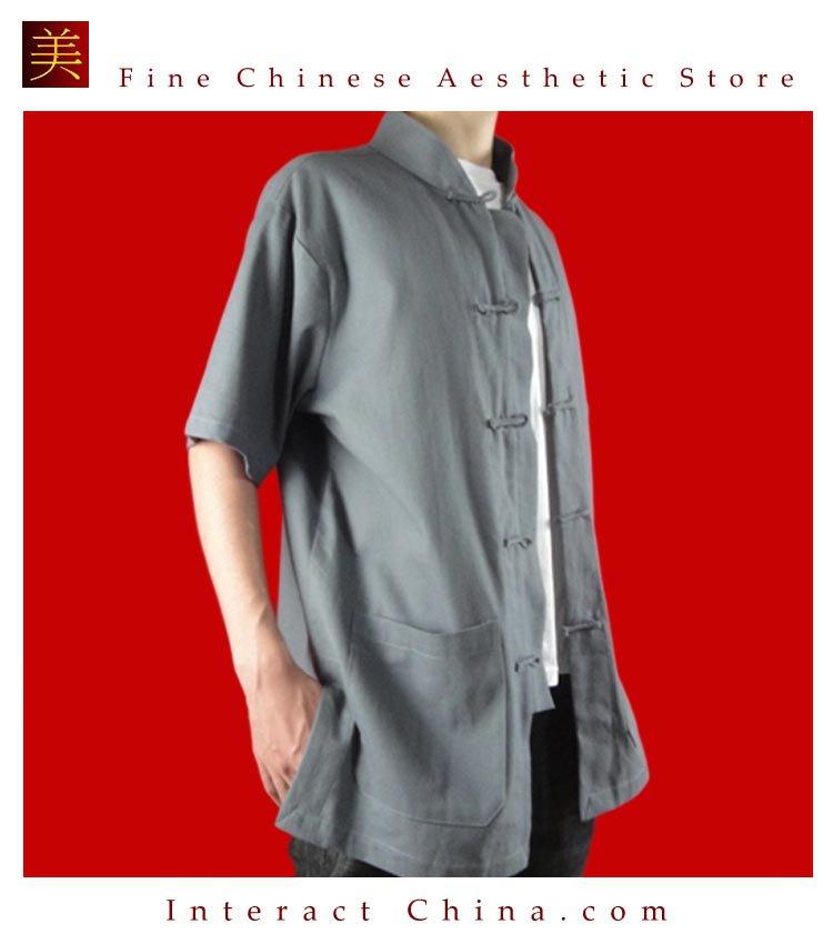 100% Cotton Grey Kung Fu Martial Arts Tai Chi Shirt Clothing XS-XL or Tailor Custom Made