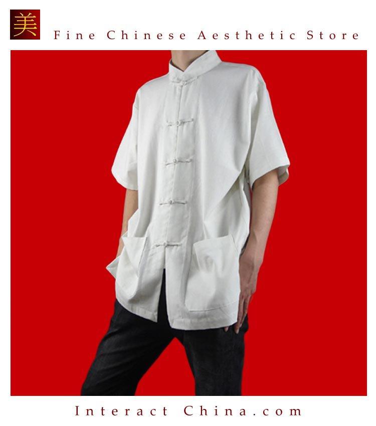 100% Cotton White Kung Fu Martial Arts Tai Chi Shirt Clothing XS-XL or Tailor Custom Made
