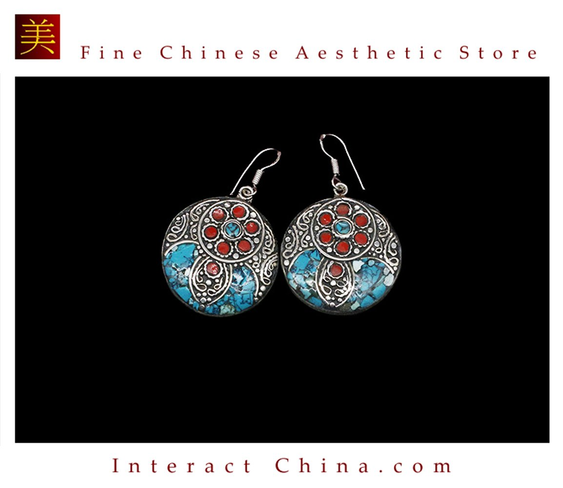 Fine Tibetan Turquoise Jewelry 925 Silver Drop Dangle Earrings 100% Handcraft #104