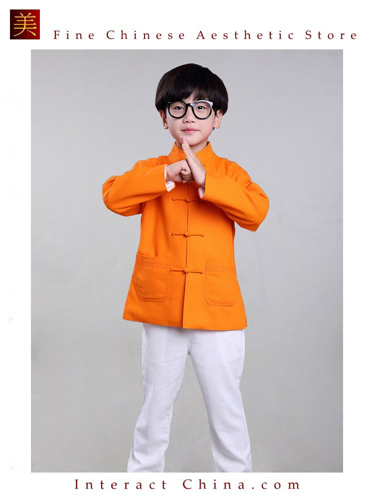 100% Handmade Boys Long Sleeve Kung Fu Tai Chi Martial Arts Kids Jacket #105