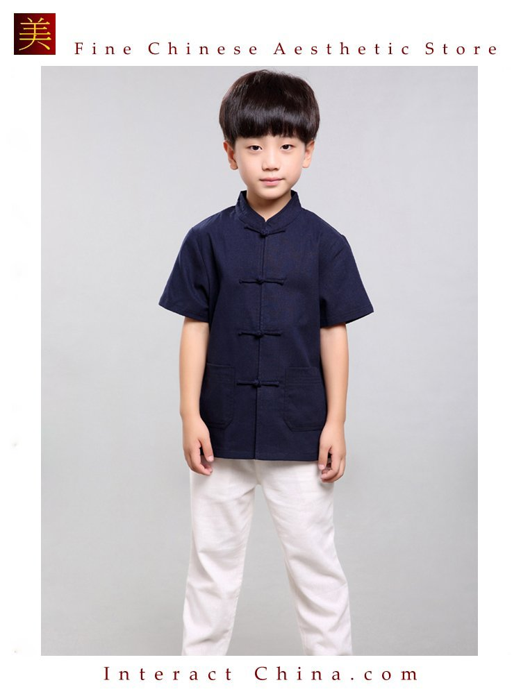 100% Handmade Boys Kung Fu Tai Chi Shirt Martial Arts Costume Kids Uniform #101