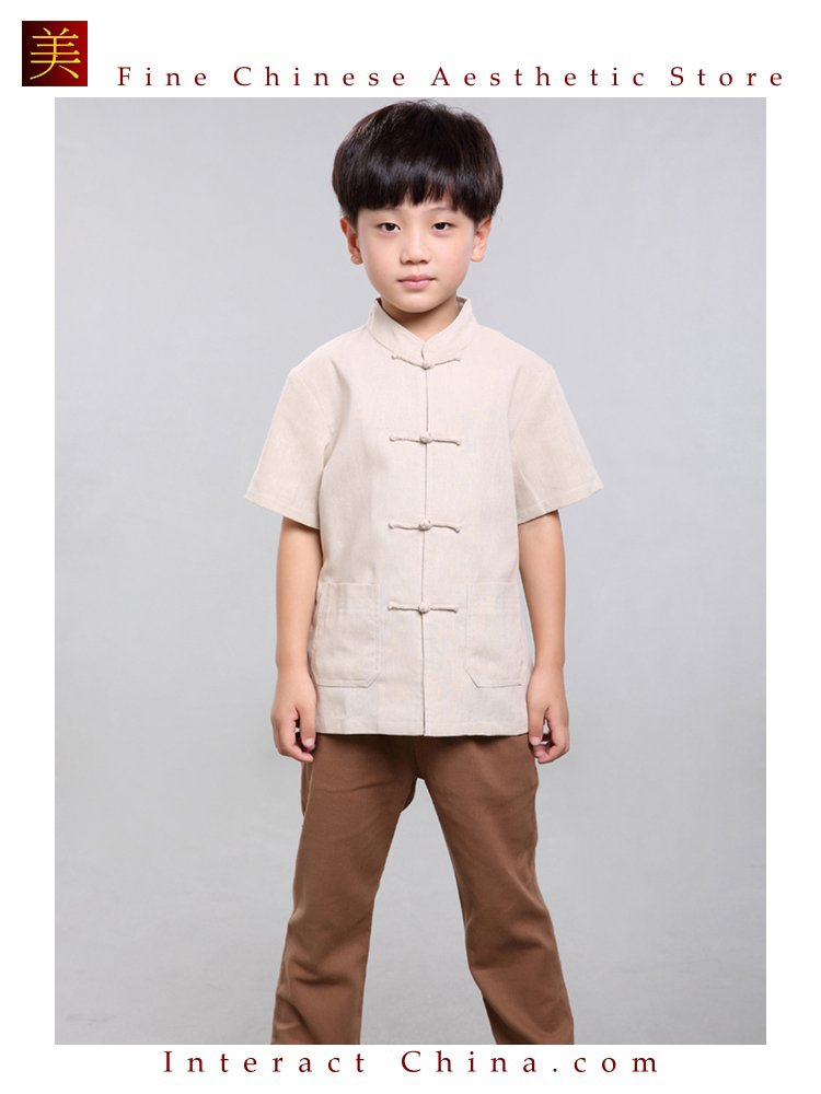 100% Handmade Boys Kung Fu Tai Chi Shirt Martial Arts Costume Kids Uniform #104