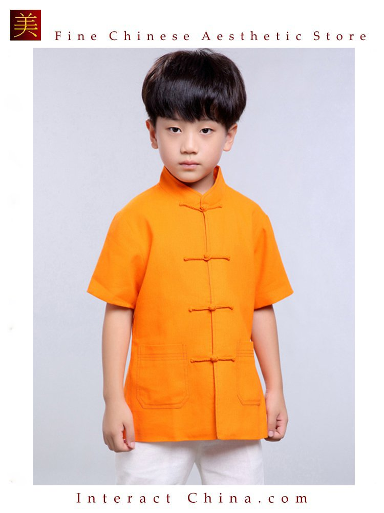 100% Handmade Boys Kung Fu Tai Chi Shirt Martial Arts Costume Kids Uniform #105