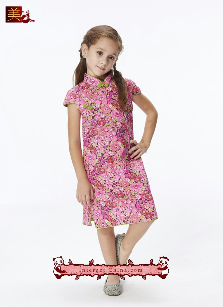 Handmade Girls Dress Chinese Cheongsam Qipao Children Kids Cotton Clothing #101