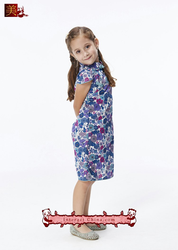 Handmade Girls Dress Chinese Cheongsam Qipao Children Kids Cotton Clothing #103