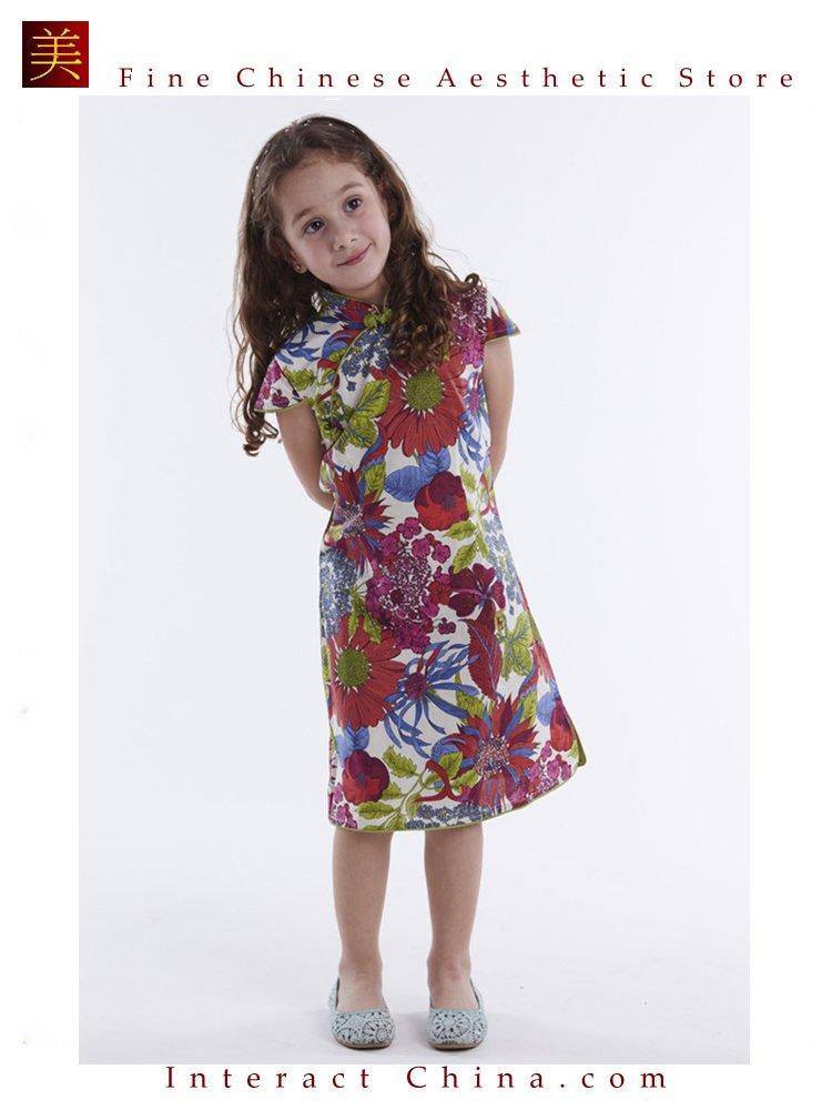 Handmade Girls Dress Chinese Cheongsam Qipao Children Kids Cotton Clothing #106
