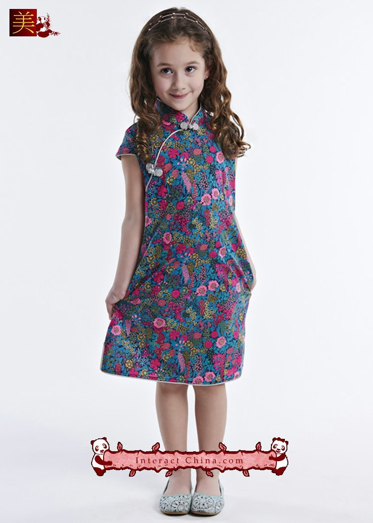 Handmade Girls Dress Chinese Cheongsam Qipao Children Kids Cotton Clothing #107