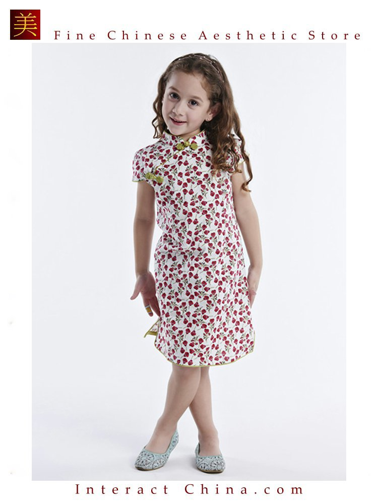 Handmade Girls Dress Chinese Cheongsam Qipao Children Kids Cotton Clothing #114