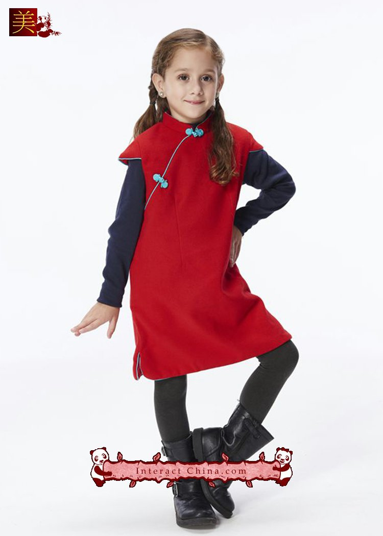 Handmade Girls Cotton Dress Overcoat Chinese Cheongsam Qipao Kids Clothing #204