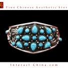 Fine Tibetan Turquoise Jewelry 925 Silver Cuff Bracelet  100% Handcraft #102