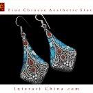Fine Tibetan Turquoise Coral Jewelry 925 Silver Drop Dangle Earrings 100% Handcraft #102
