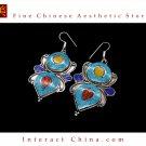 Fine Tibetan Turquoise Coral Lazurite Jewelry 925 Silver Drop Dangle Earrings 100% Handcraft #107