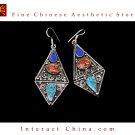 Fine Tibetan Turquoise Coral Lazurite Jewelry 925 Silver Drop Dangle Earrings 100% Handcraft #109