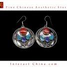 Fine Tibetan Turquoise Lazurite Jewelry 925 Silver Drop Dangle Earrings 100% Handcraft #110