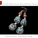 Fine Tibetan Turquoise Jewelry 925 Silver Drop Dangle Earrings 100% Handcraft #113