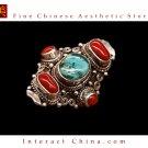 Fine Tibetan Turquoise Coral Gemstone Jewelry 925 Silver Ring 100% Handcraft #109