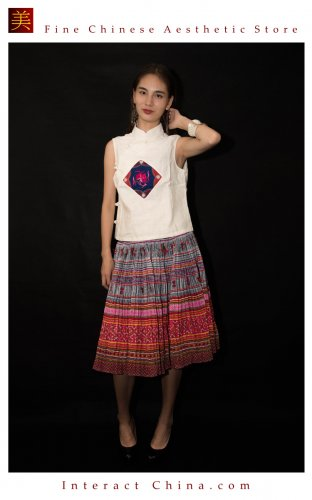 Hand Woven Embroidered Plaid Pleated Skirt Vintage Women Dress #112