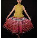 Hand Woven Embroidered Plaid Pleated Skirt Vintage Women Dress #116