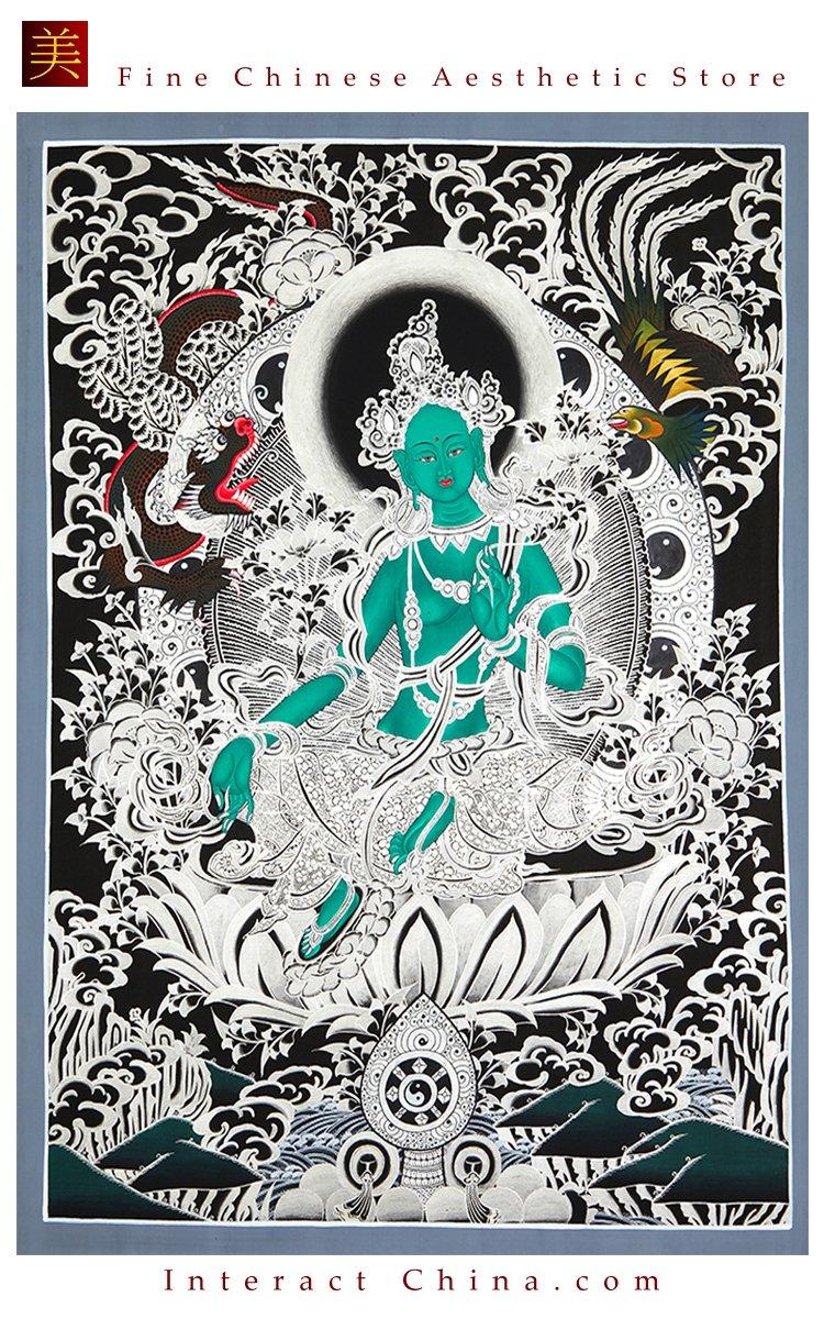 Tibet Tibetan Thangka Tangkas Buddha Buddhist Art Thanka Mineral Painting #071