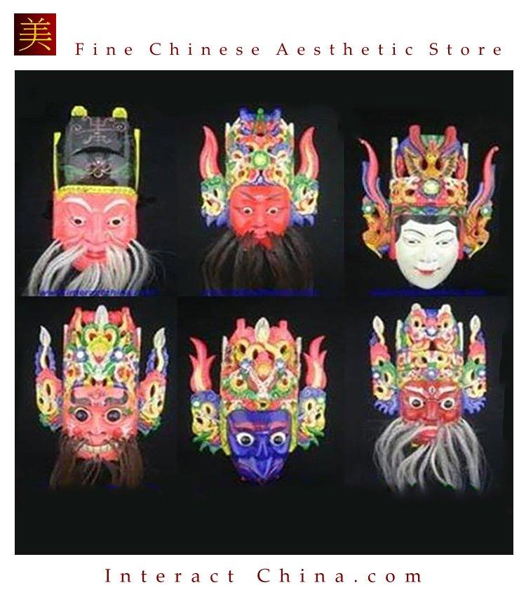 Chinese Drama Home Wall Décor Opera Mask 100% Wood Craft Folk Art #113-118 6 Role