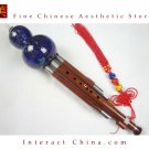 Sandalwood Cloisonne 3 Octaves Hulusi Flute Woodwind #108B + Case + How to Play Guide