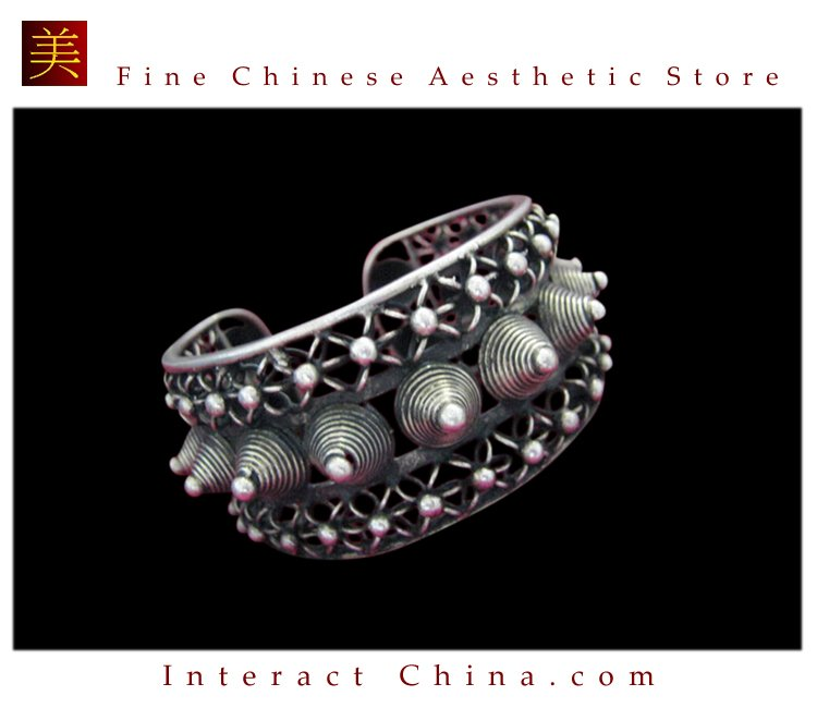 Tribal Silver Cuff Bracelet Chinese Ethnic Hmong Miao Jewelry #220 Unique Handmade