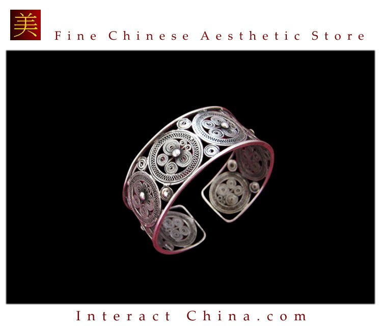 Tribal Silver Cuff Bracelet Chinese Ethnic Hmong Miao Jewelry #222 Unique Handmade